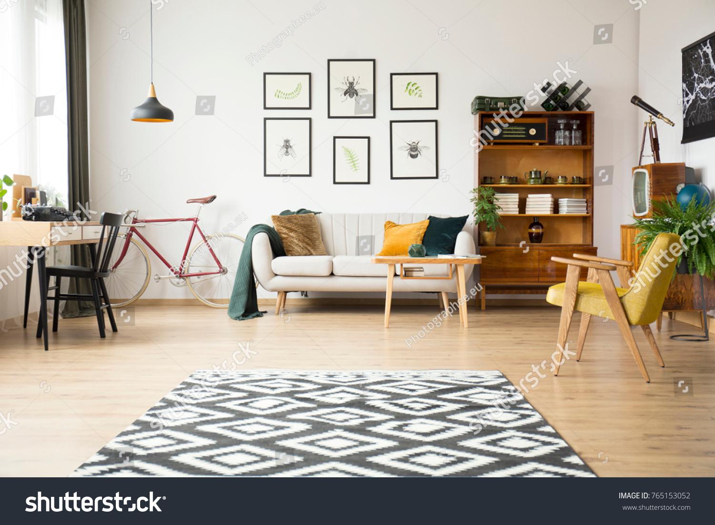 Geometric Carpet Spacious Living Room Bike Stock Photo (Royalty Free ...