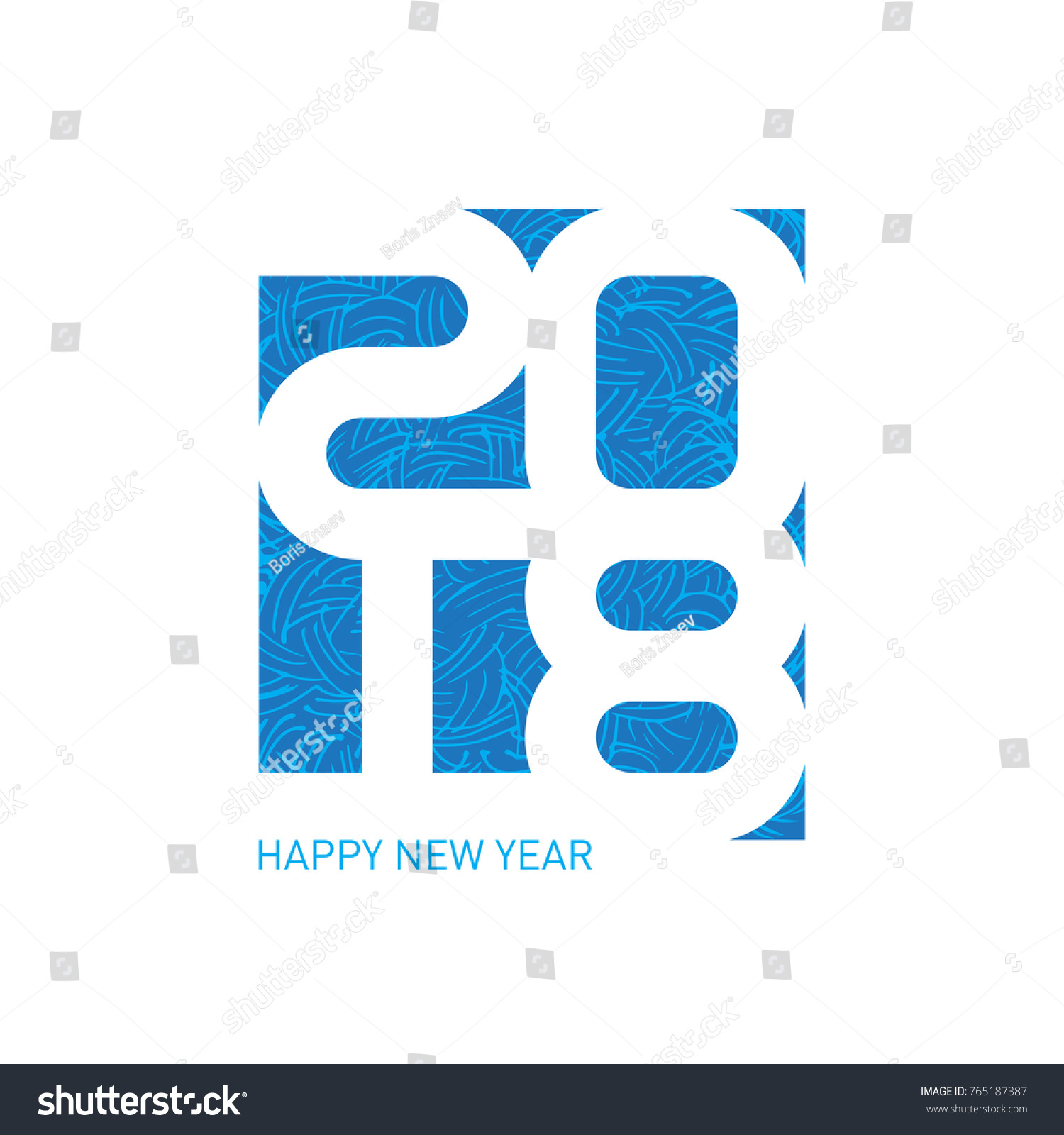 Happy New Year 2018 Vector Greeting Stock Vector 765187387 ...