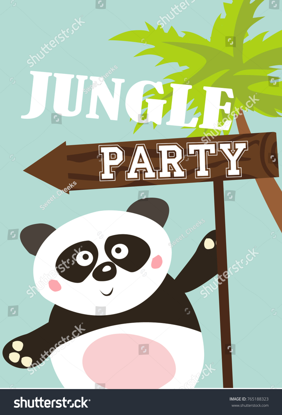 Jungle party invitation card stock vector 765188323 shutterstock jungle party invitation card stopboris Choice Image