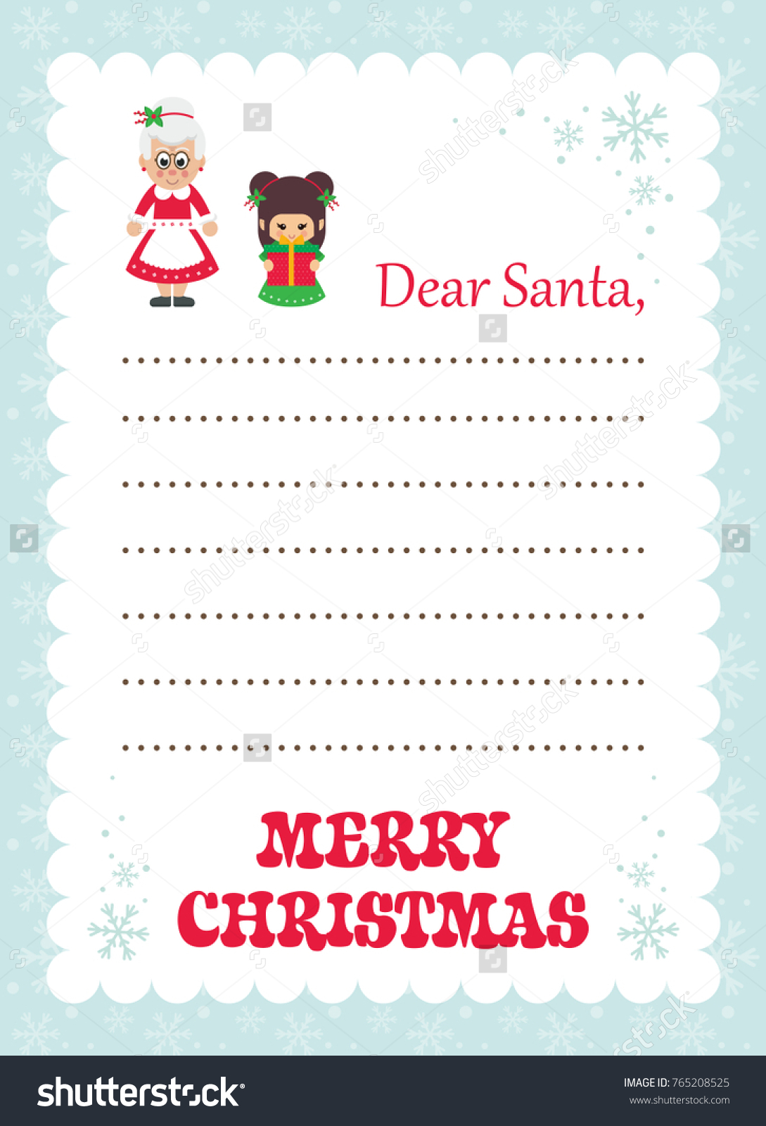 Cartoon letter santa mrs santa christmas stock vector 765208525 cartoon letter to santa mrs santa and christmas elf with gift spiritdancerdesigns