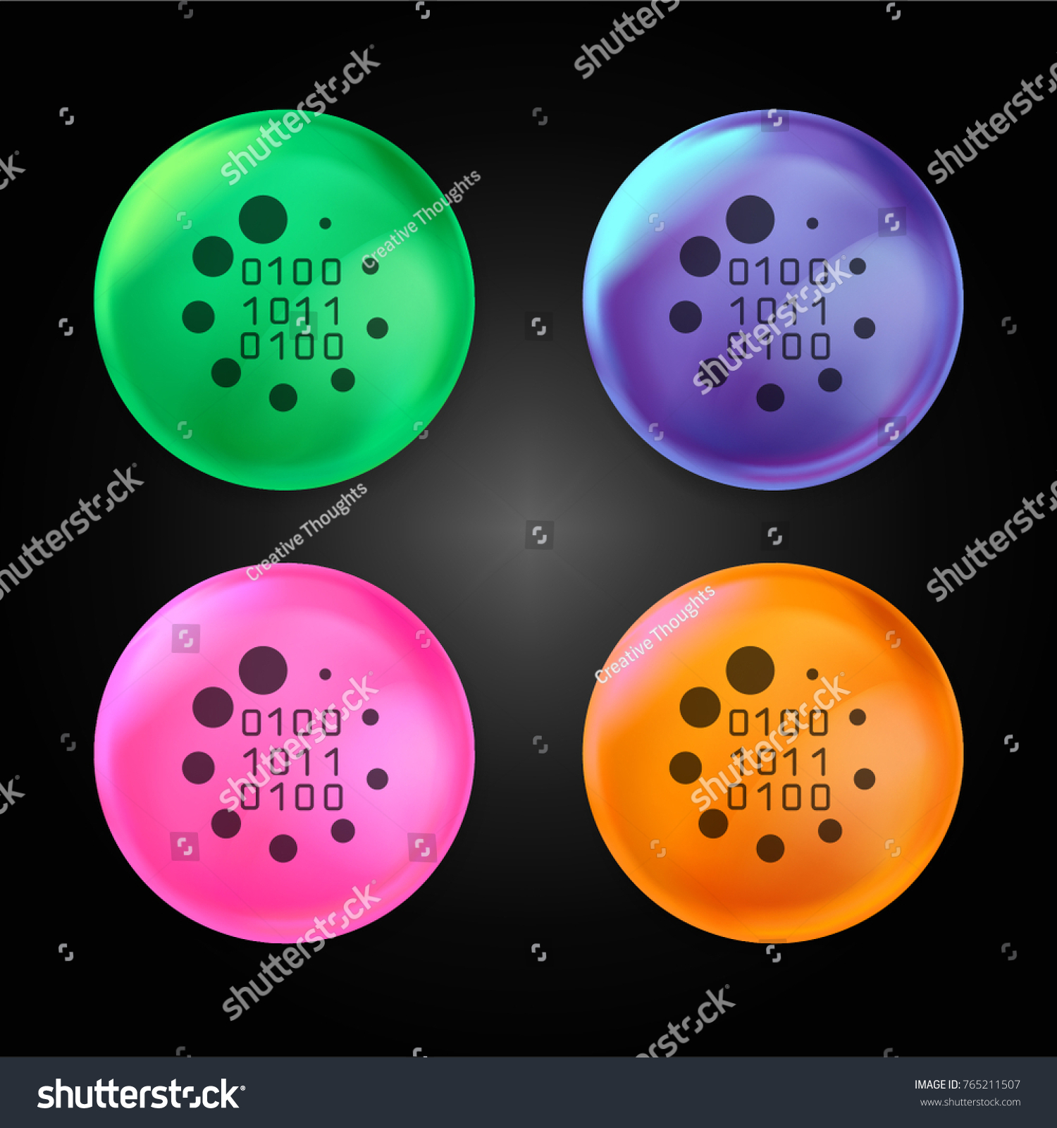 Binary code loading symbol crystal ball stock vector 765211507 binary code loading symbol crystal ball design icon in green blue pink and orange biocorpaavc Image collections