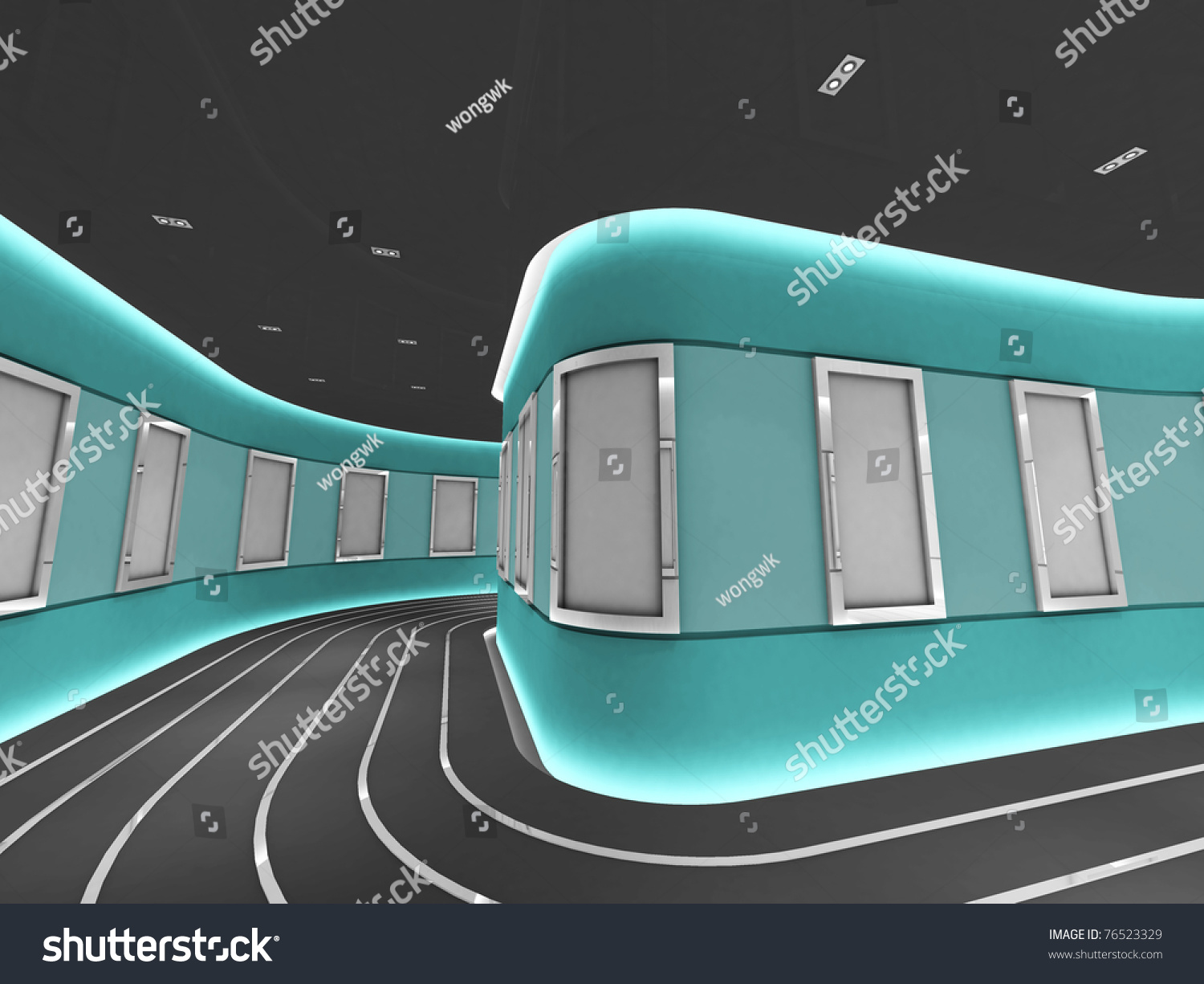 Silver Picture Frames Modern Gallery Tunnel Stock Illustration ...