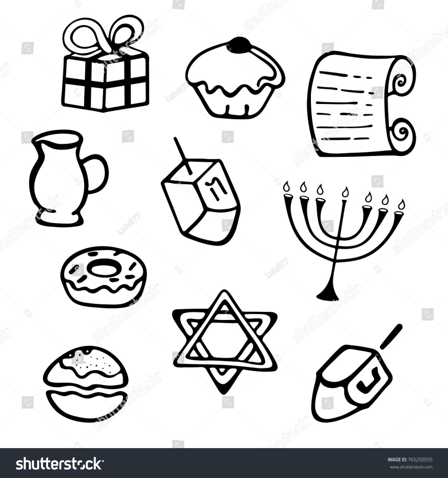 Hanukkah set traditional attributes menorah dreidel stock vector a set of traditional attributes of the menorah dreidel candles olive biocorpaavc
