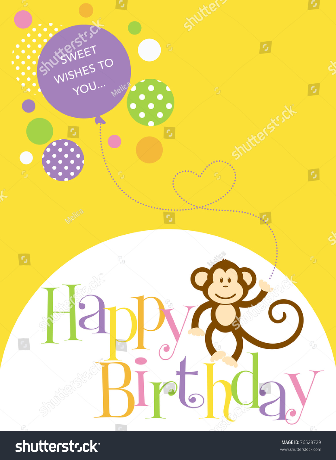 Illustration Birthday Card Cute Monkey Balloon Vector – Monkey Birthday Card