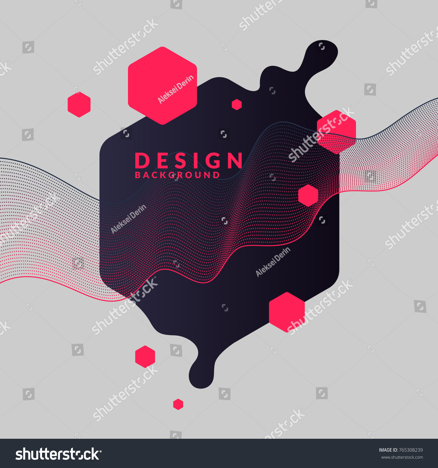 Trendy abstract background. Composition of geometric shapes and splash. Vector illustration #765308239