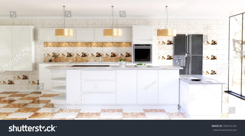 Beautiful Modern Spacious Kitchen Interior Scene Stock Illustration ...