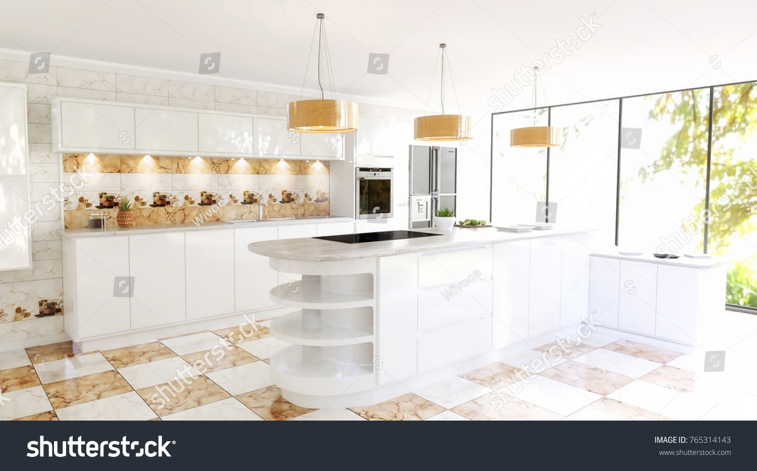 Beautiful Modern Spacious Kitchen Interior Scene Stock Illustration ...