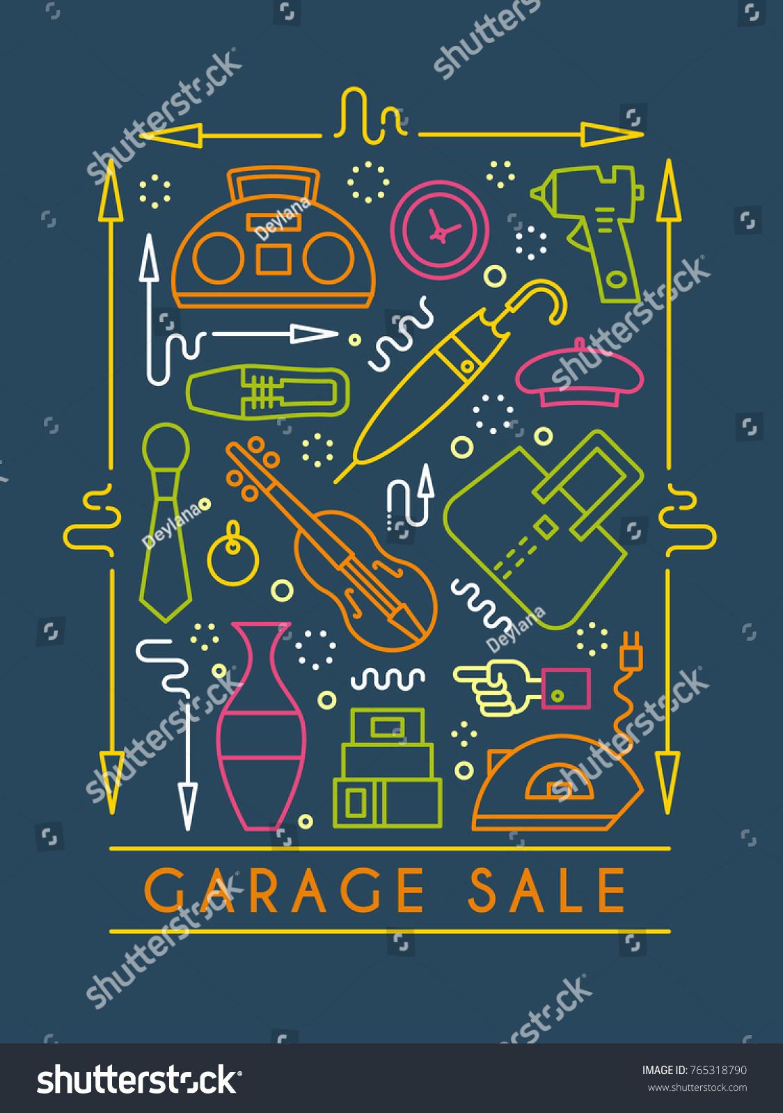 vector line style illustration garage sale yard sale flyer template design element for