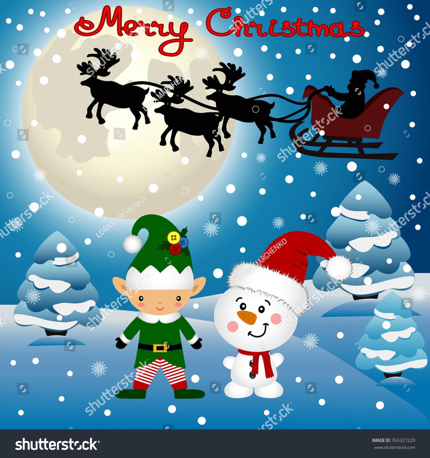 christmas card funny postcard with christmas elf christmas reindeer and santa vector illustration - Elf Christmas Card