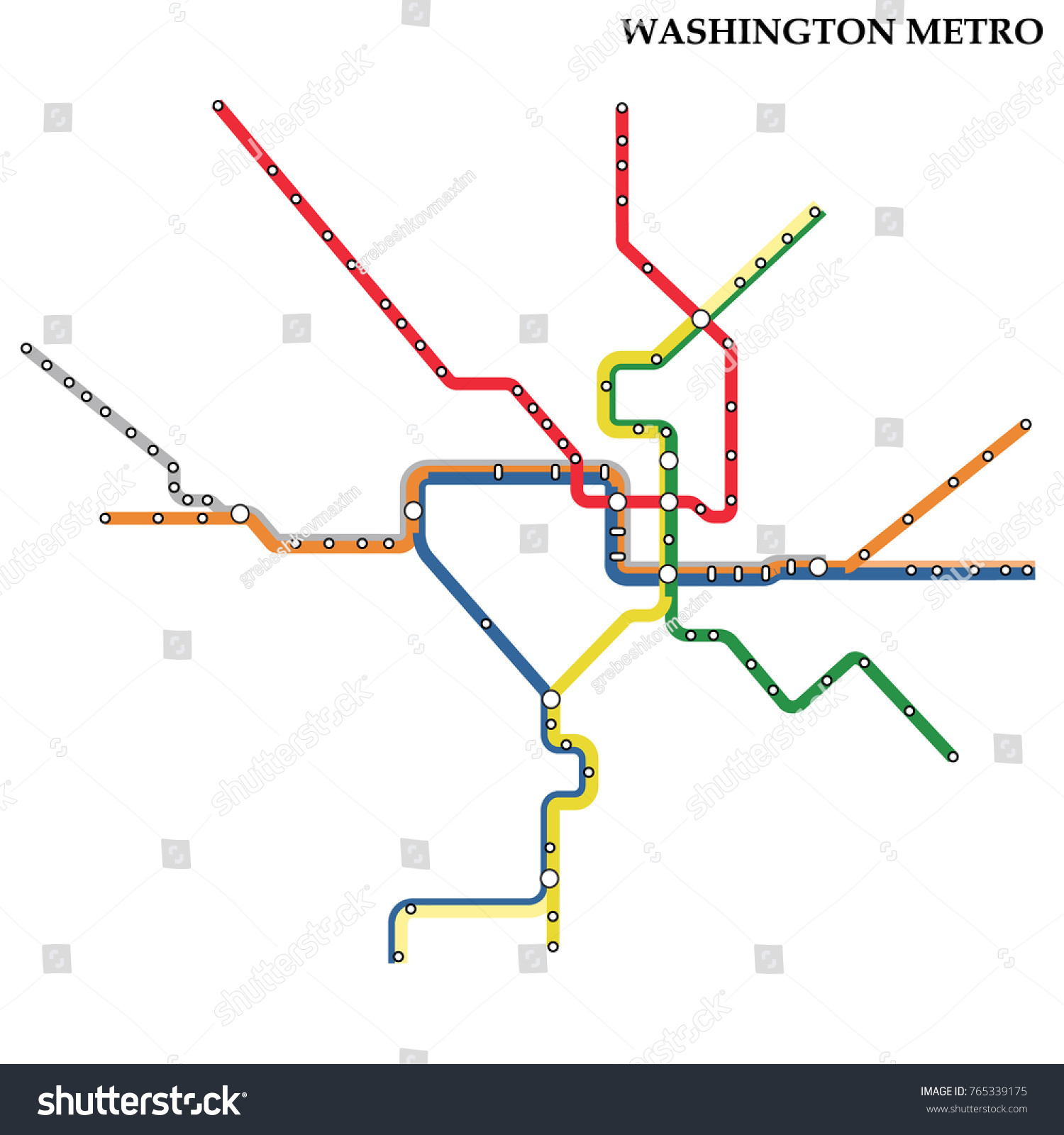 Map Washington Dc Metro Subway Template Stock Vector Royalty Free