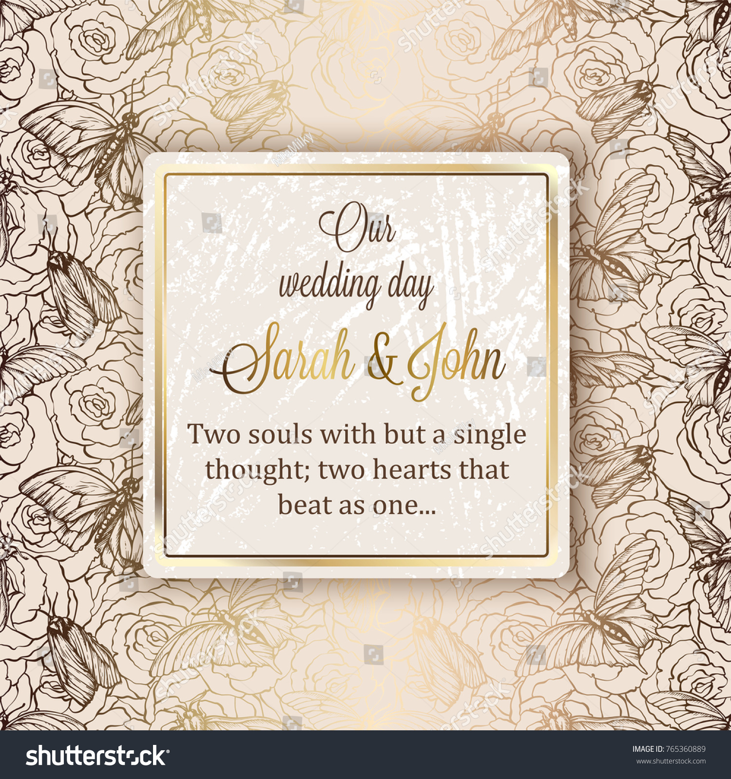 Intricate baroque luxury wedding invitation card stock vector intricate baroque luxury wedding invitation card rich gold decor on beige background with frame and monicamarmolfo Gallery
