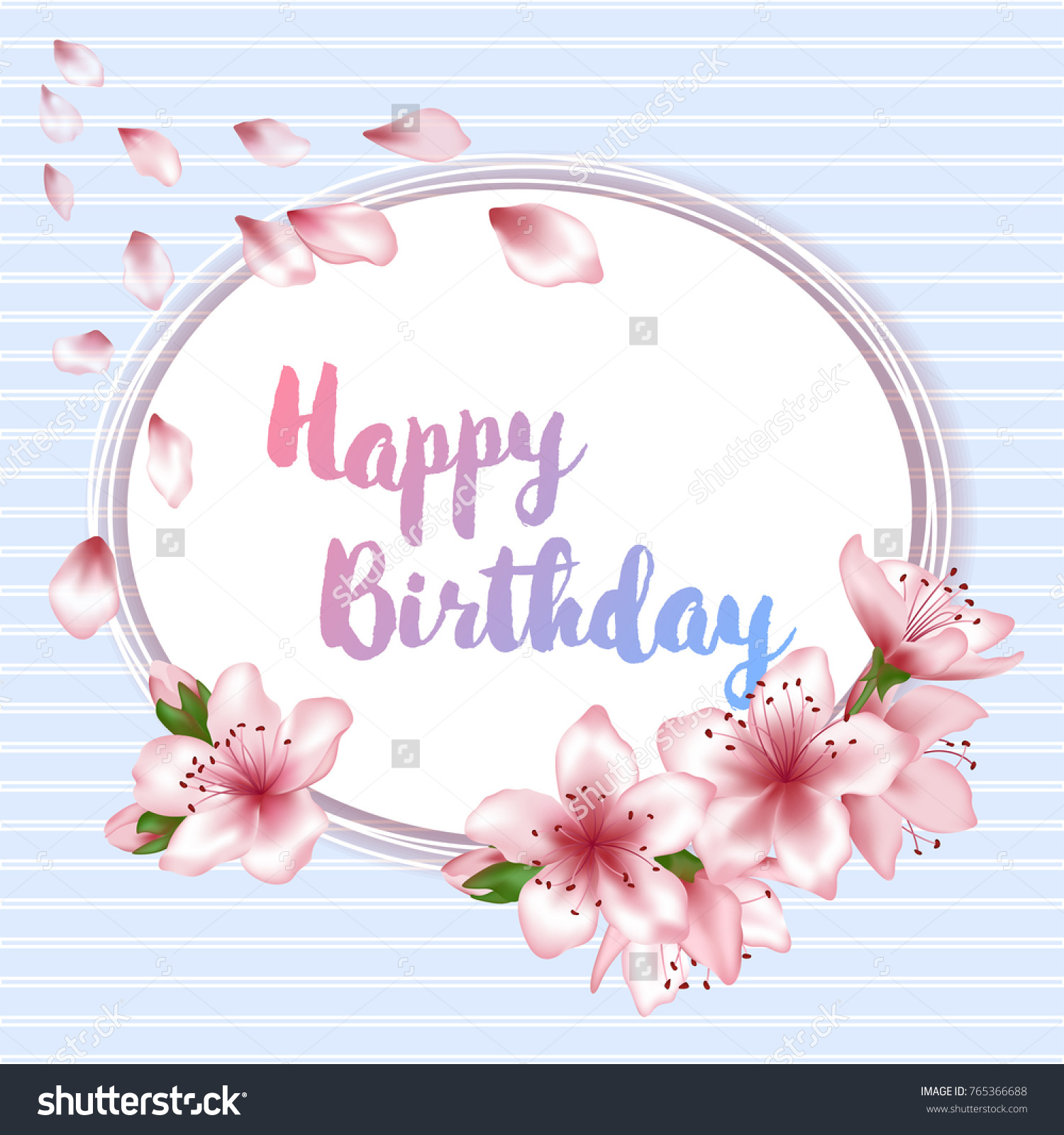 Happy Birthday Flowers Blossom Greeting Card Stock Illustration