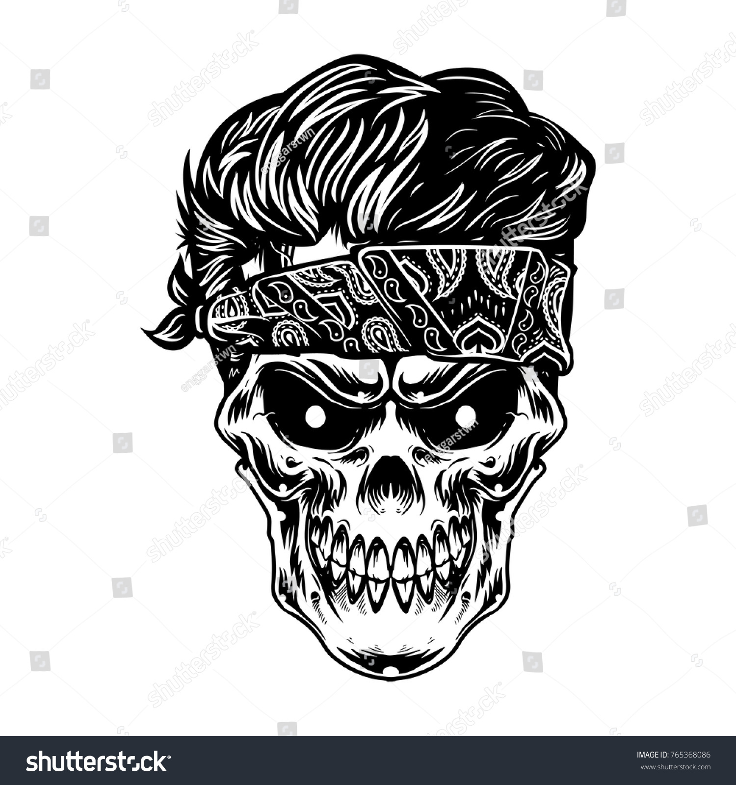 The skull head wearing bandana and cool black hairstyle for t shirt design artwork art