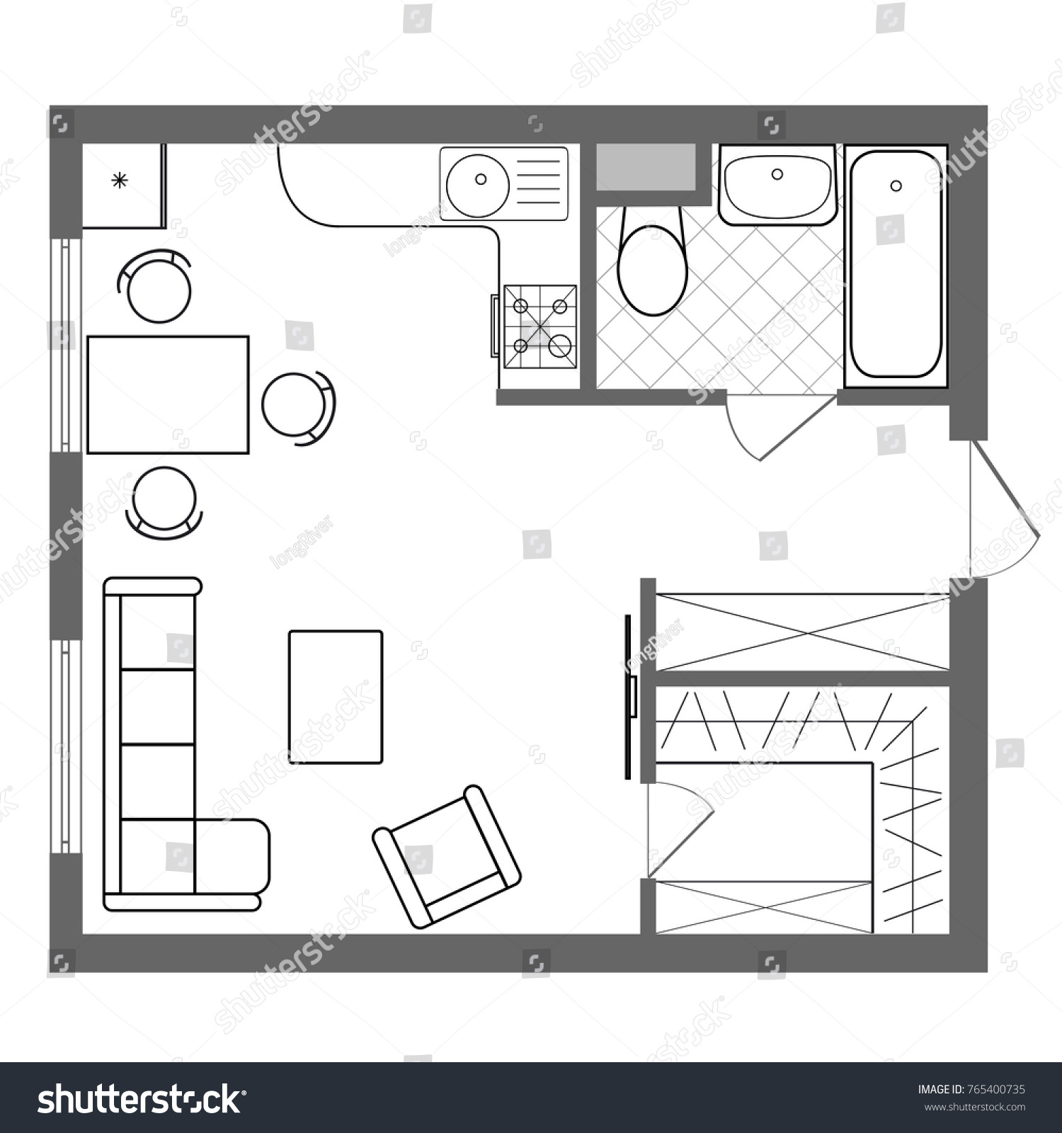 Architectural Plan House Professional Layout One Stock Vector Royalty Free 765400735