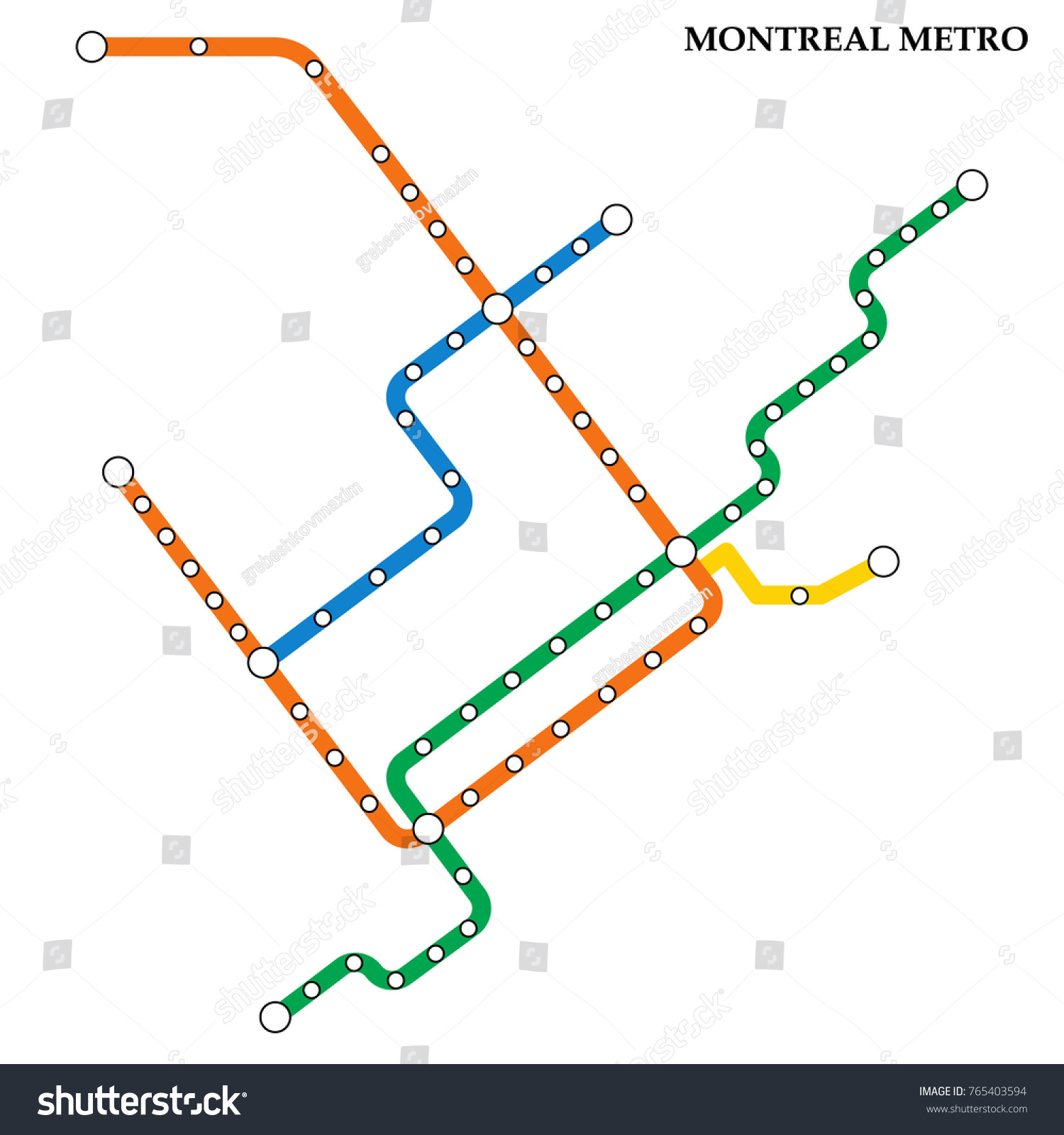 Subway Map Montreal.Map Montreal Metro Subway Template City Stock Vector Royalty Free