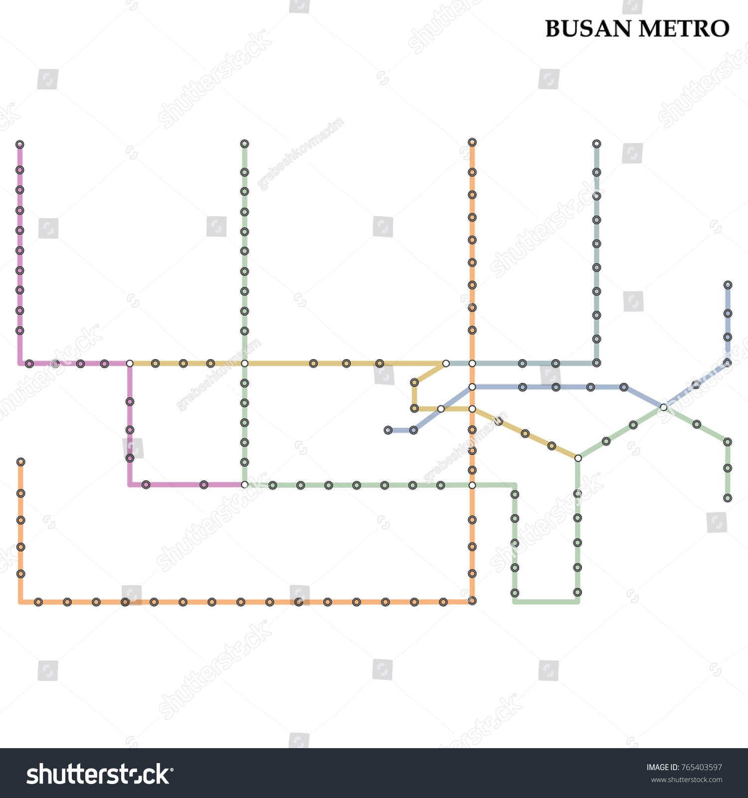 Map Busan Metro Subway Template City Stock Vector Royalty Free