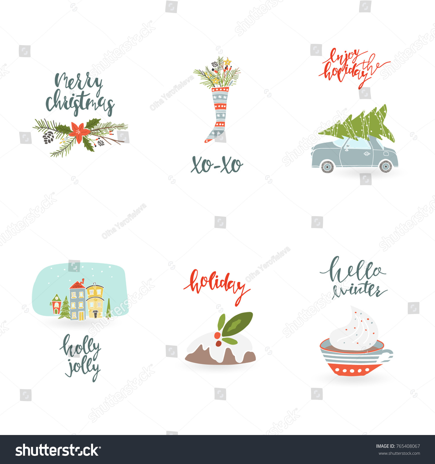 Collection 6 Christmas Greetings Set Hand Stock Vector Royalty Free