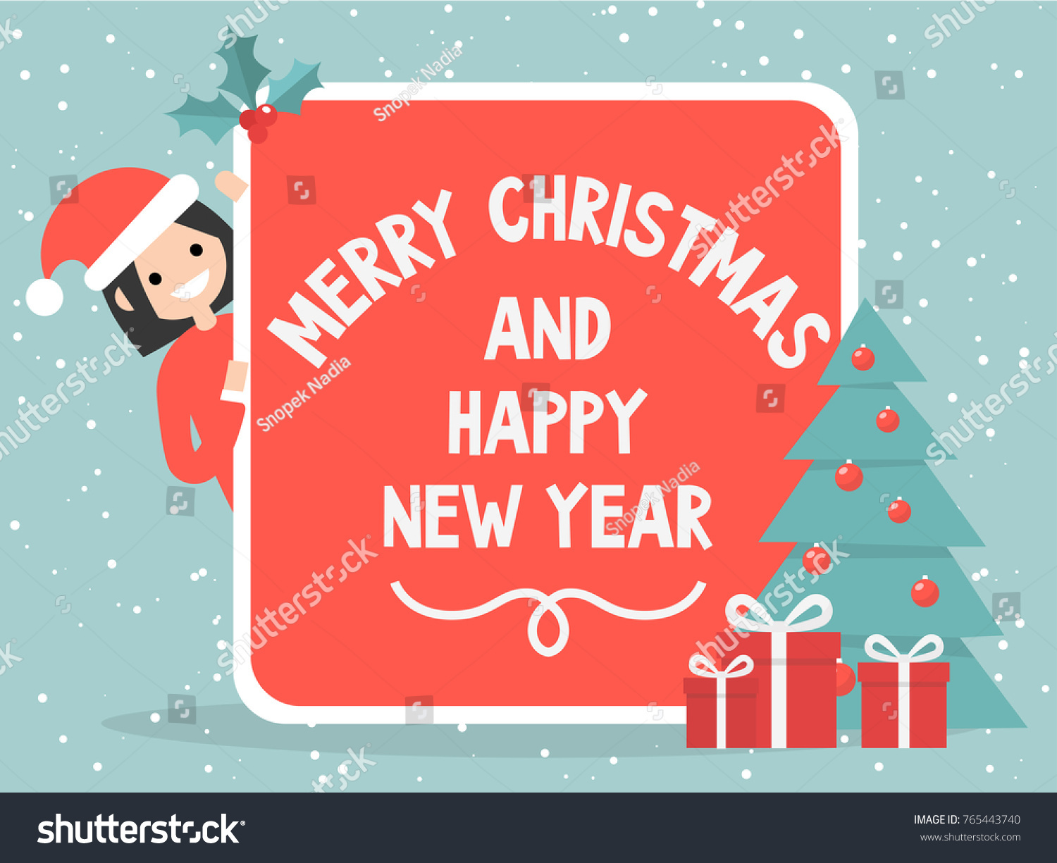Merry Christmas Happy New Year Vintage Stock Vector ...