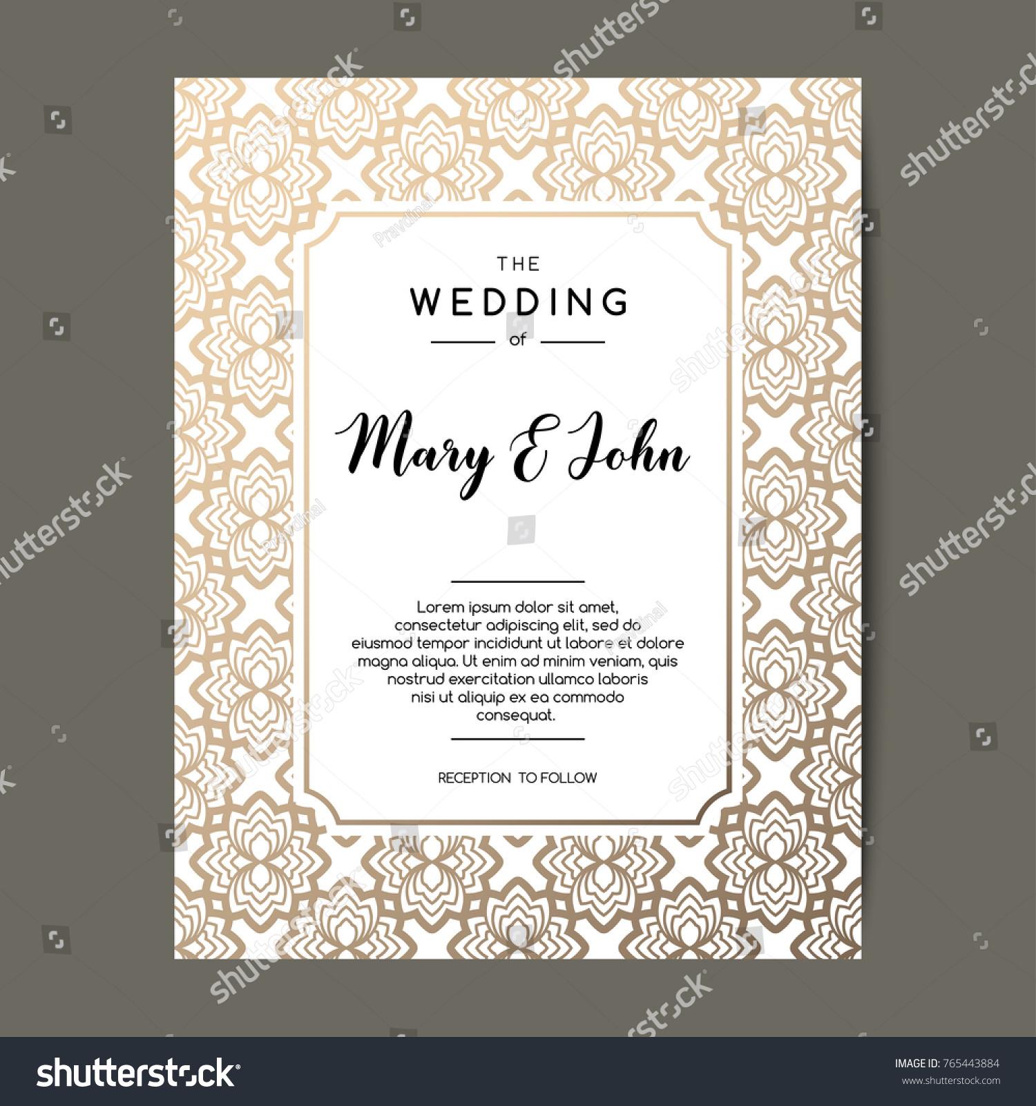 Elegant Wedding Invitation Background Card Design Stock Vector ...