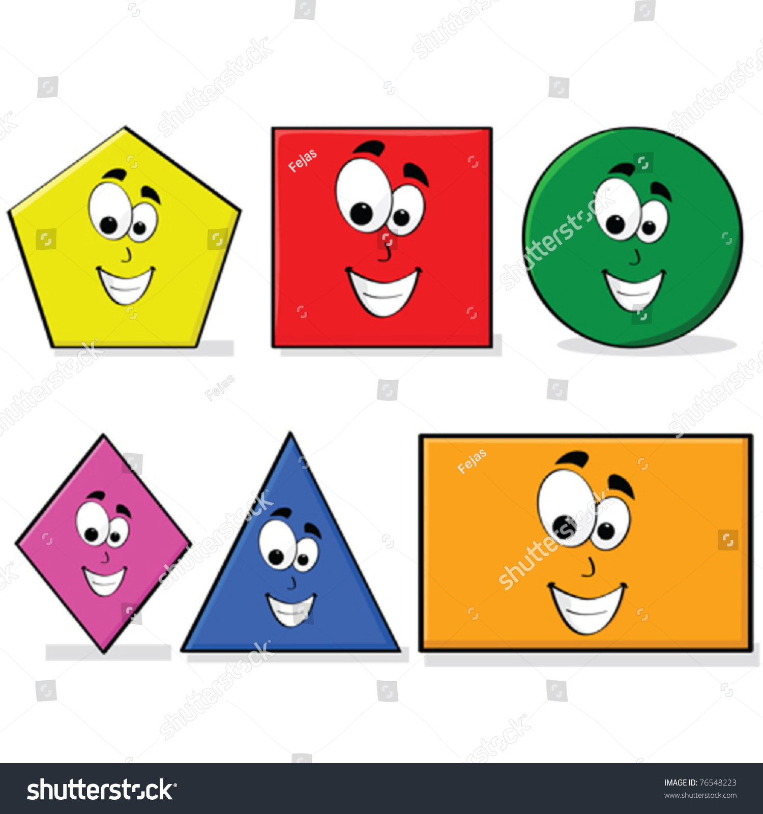 Vector Illustration Shapes Different Colors Happy Stock Vector ...