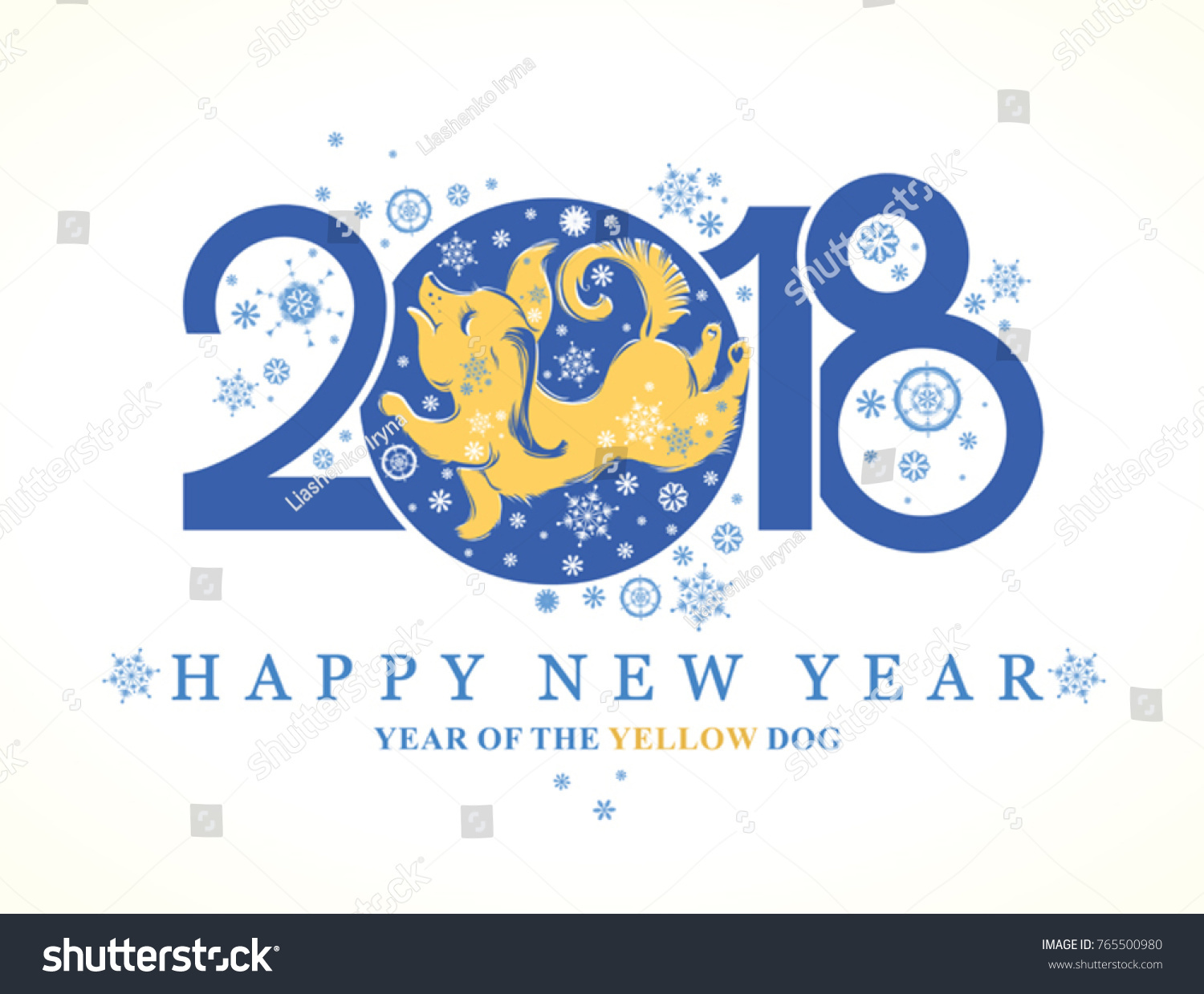 Dog 2018 symbol on chinese calendar stock vector 765500980 dog 2018 symbol on the chinese calendar cute puppy catches snowflakes year of the biocorpaavc