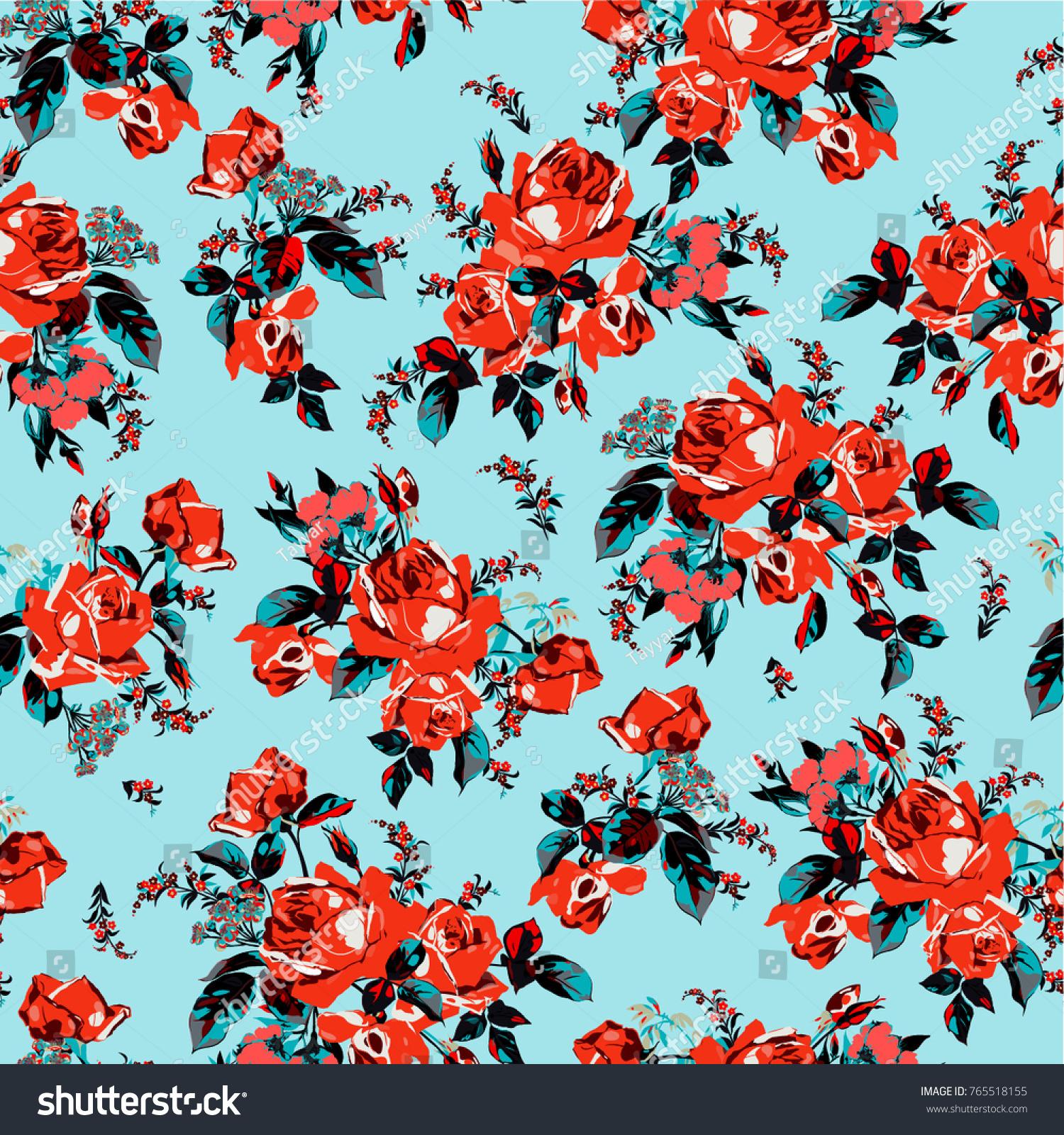 Vector Illustration Floral Pattern Flowers Pattern Stock Vector ...