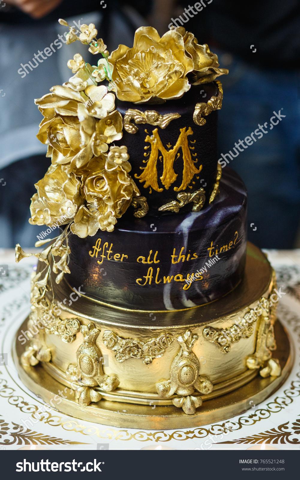 Elegant Black Gold Wedding Cake Stock Photo (Edit Now) 765521248