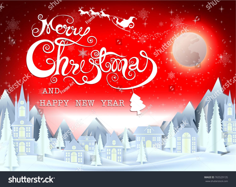 Merry christmas everyone greeting card vintage stock vector royalty merry christmas everyone greeting card vintage background with red sky and snow merry christmas m4hsunfo