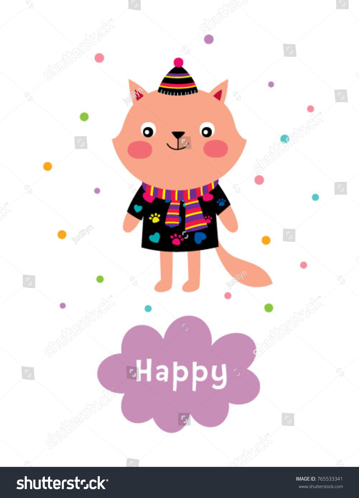 Cute Kitten Cartoon Happy Card Vector Stock Vector
