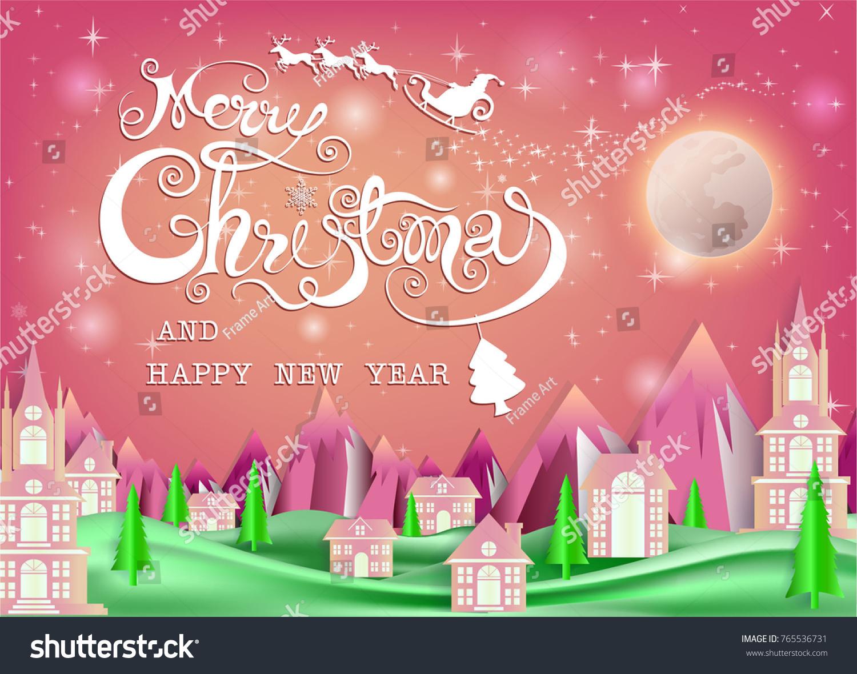 Merry Christmas Everyone Greeting Card Vintage Stock Vector Royalty