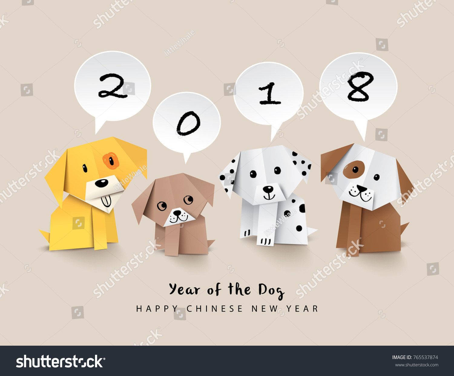 2018 chinese new year greeting card stock vector 765537874 2018 chinese new year greeting card design with origami dogs kristyandbryce Images