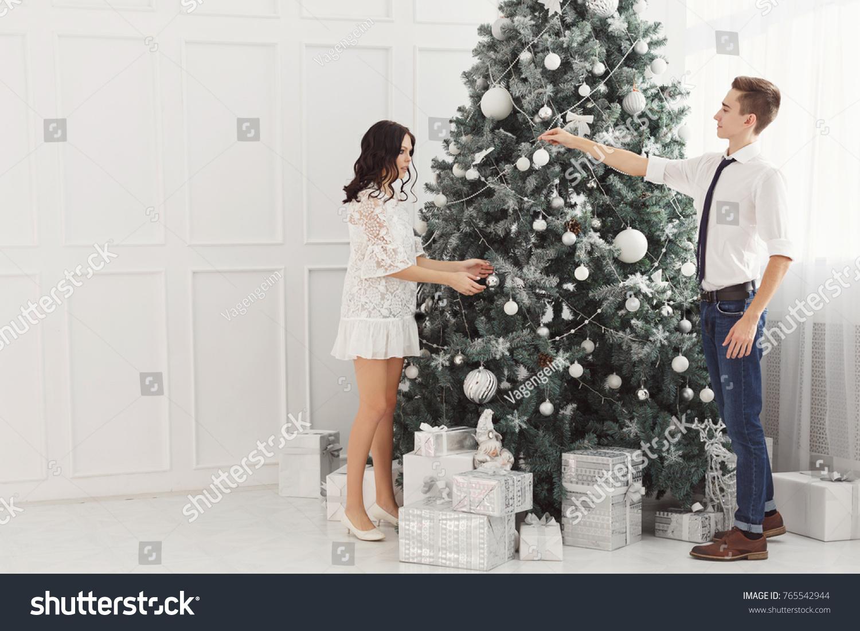 Couple Teenagers Christmas Boyfriend Girlfriend Decorate Stock Photo ...