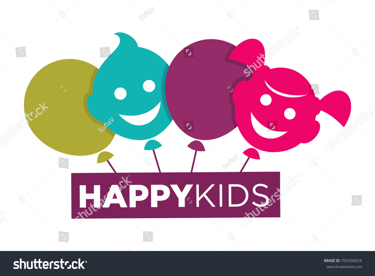 Kids Zone Logo Template Child Palm Stock Vector (Royalty Free ...