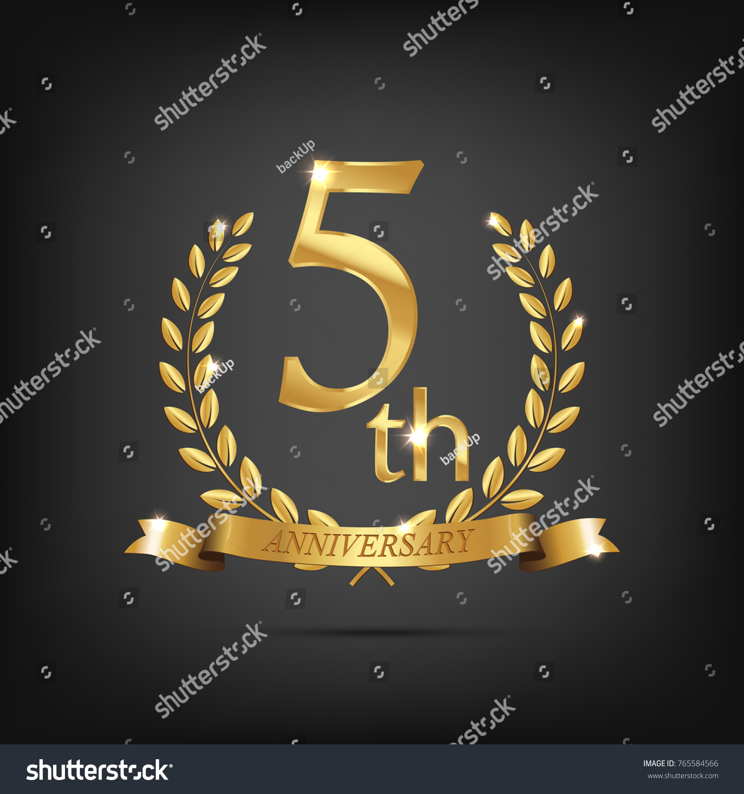 5 anniversary golden symbol golden laurel stock vector 765584566 5 anniversary golden symbol golden laurel wreaths with ribbons and fifth anniversary year symbol on biocorpaavc Gallery