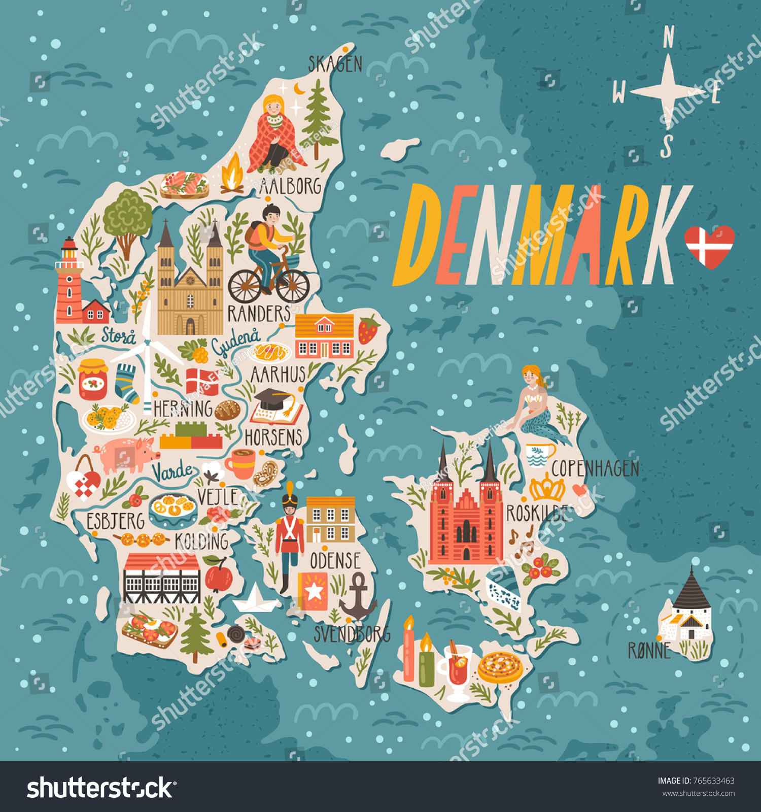 Vector Stylized Map Denmark Travel Illustration Stock Vector