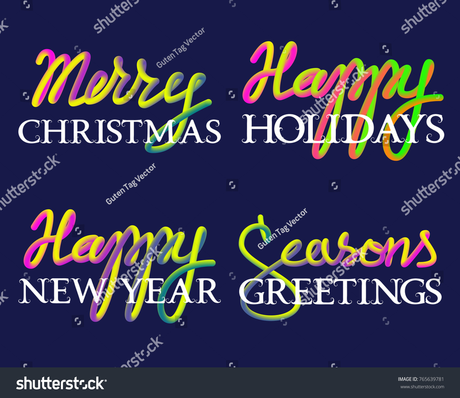 Winter holiday fluid colors white lettering stock vector 765639781 winter holiday fluid colors and white lettering set merry christmas seasons greetings happy kristyandbryce Choice Image