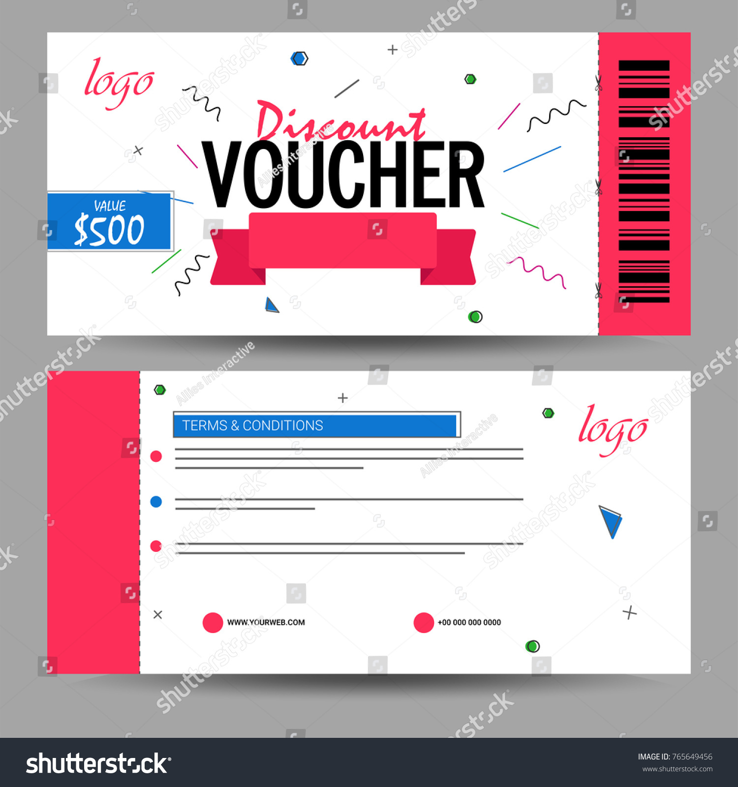 Creative Discount Voucher Gift Card Coupon Stock Vector (2018 ...
