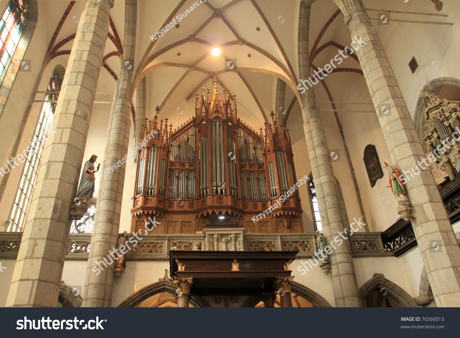 Interior gothic revival church st vitus stock photo for Gothic revival interior