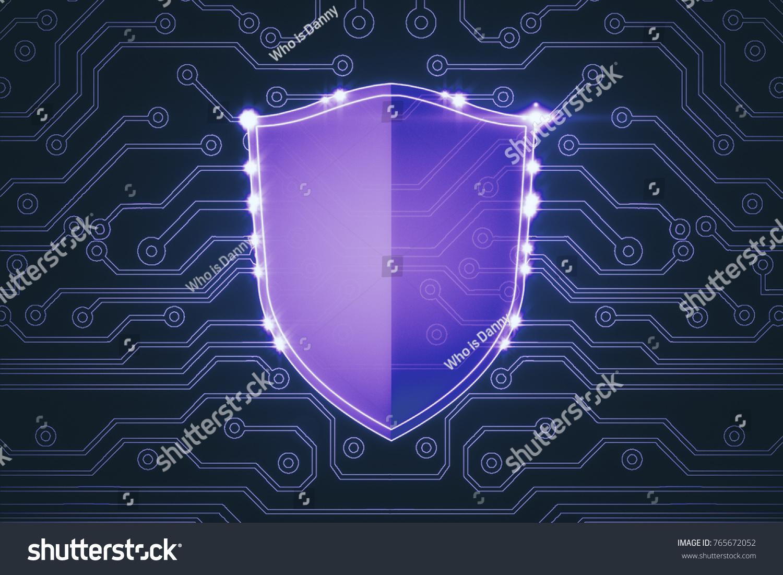 Abstract Purple Antivirus Shield On Circuit Stock Illustration ...