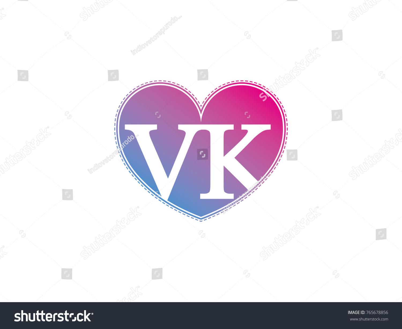 Initial Letter Vk Heart Symbol Logo Stock Vector Royalty Free