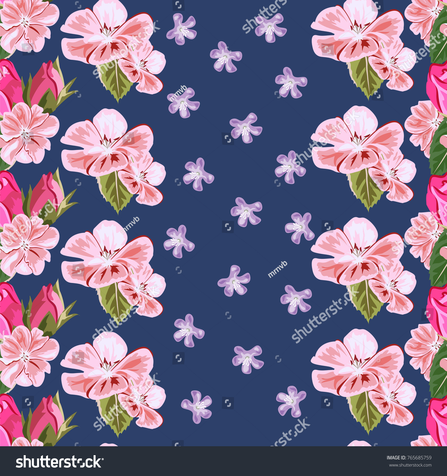 Seamless Pattern With Cute Pink Geranium And Rose Buds Hand Drawn