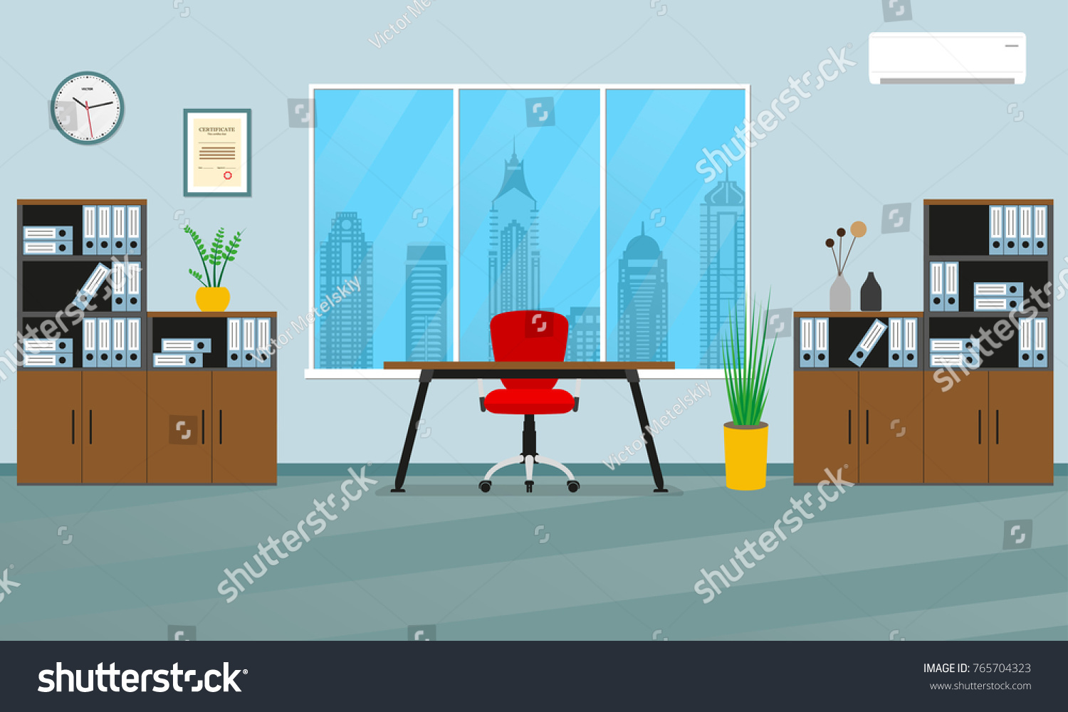 Office Interior Concept. Modern Business Workspace With Office Furniture:  Chair, Desk, Bookcase