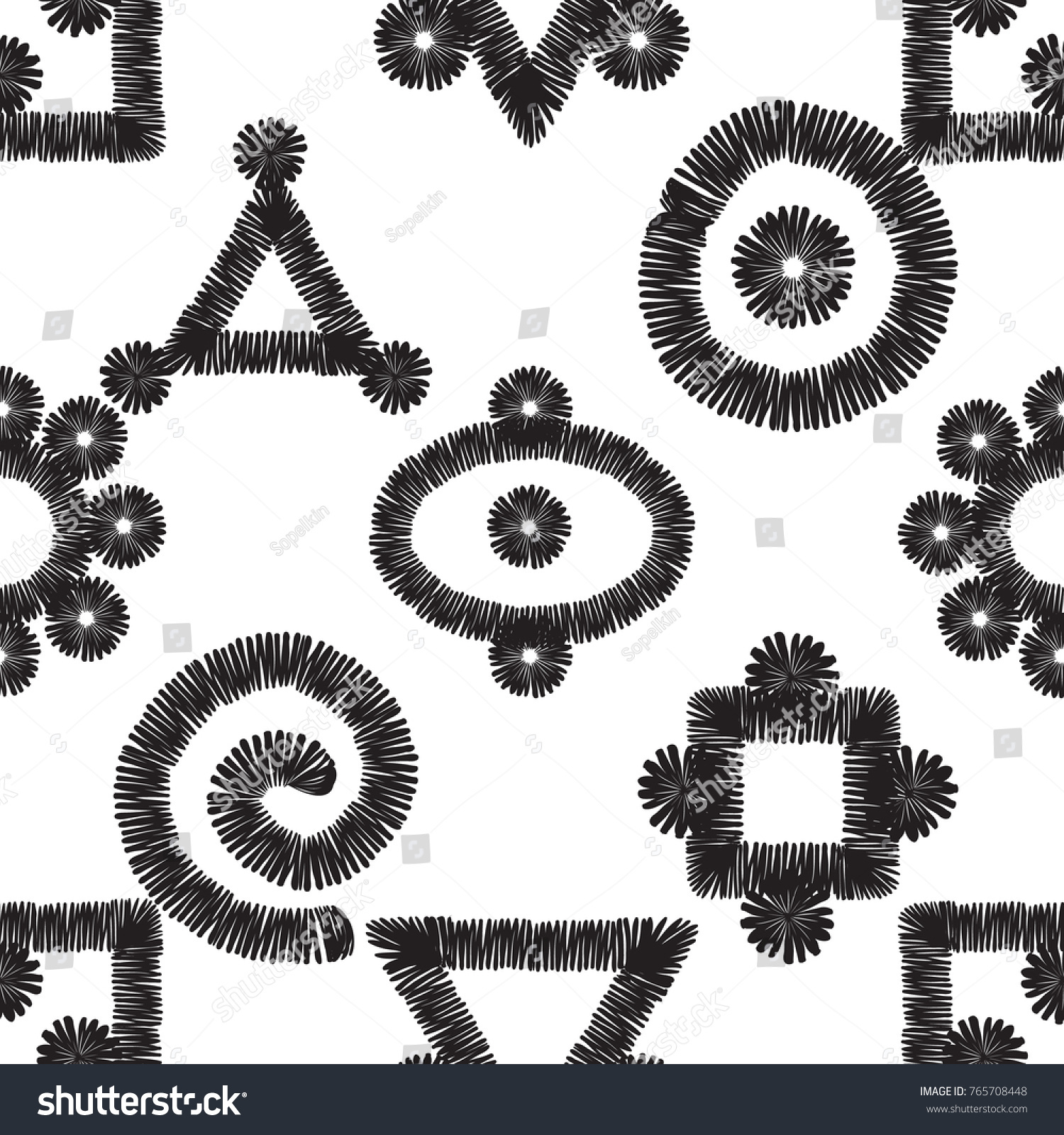 Tribal embroidery primitive aztec symbols vector stock vector tribal embroidery primitive aztec symbols vector abstract seamless pattern black graphic on white background biocorpaavc Gallery