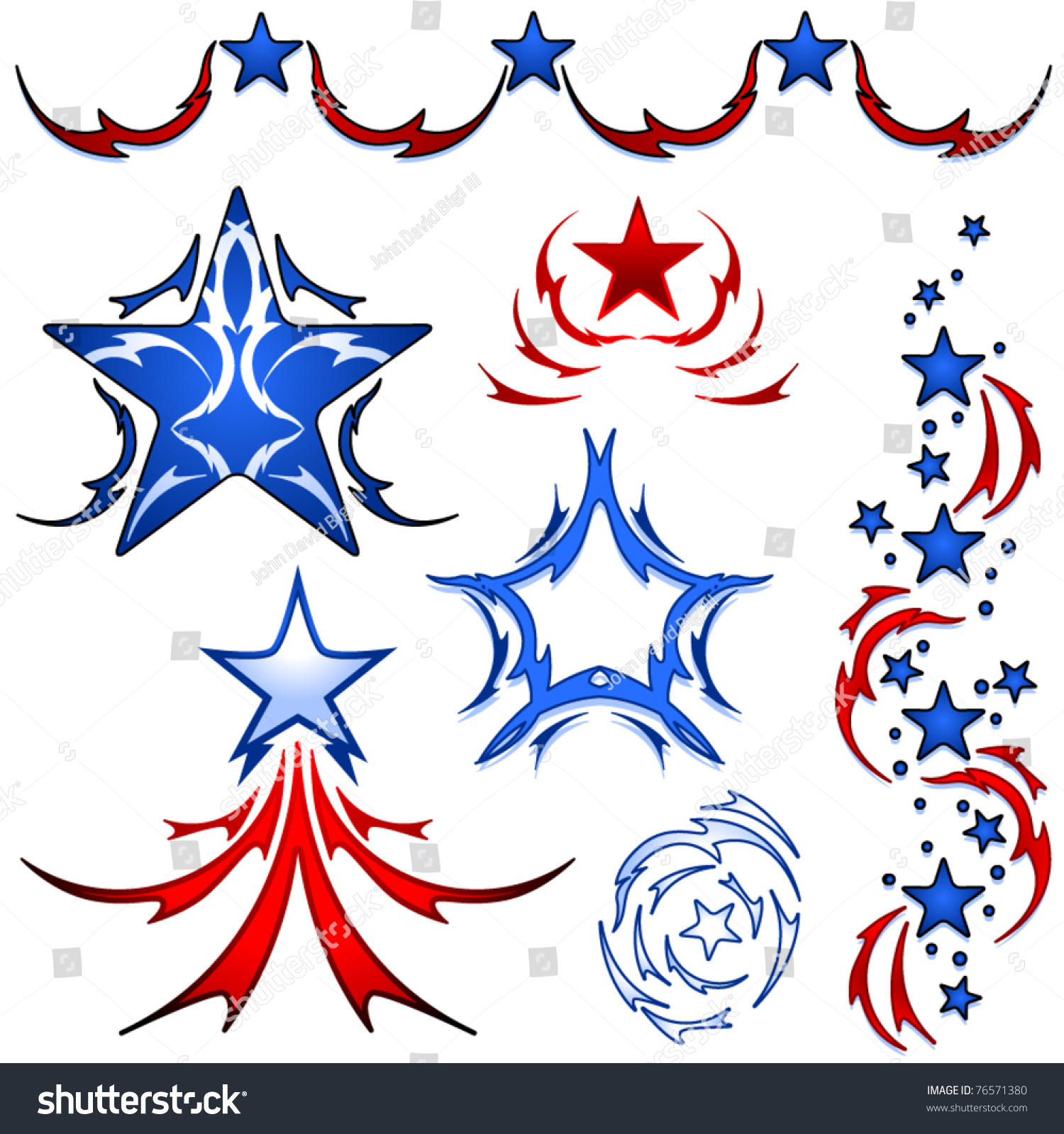 Set patriotic american stars inspired by stock vector for Patriotic tribal tattoos