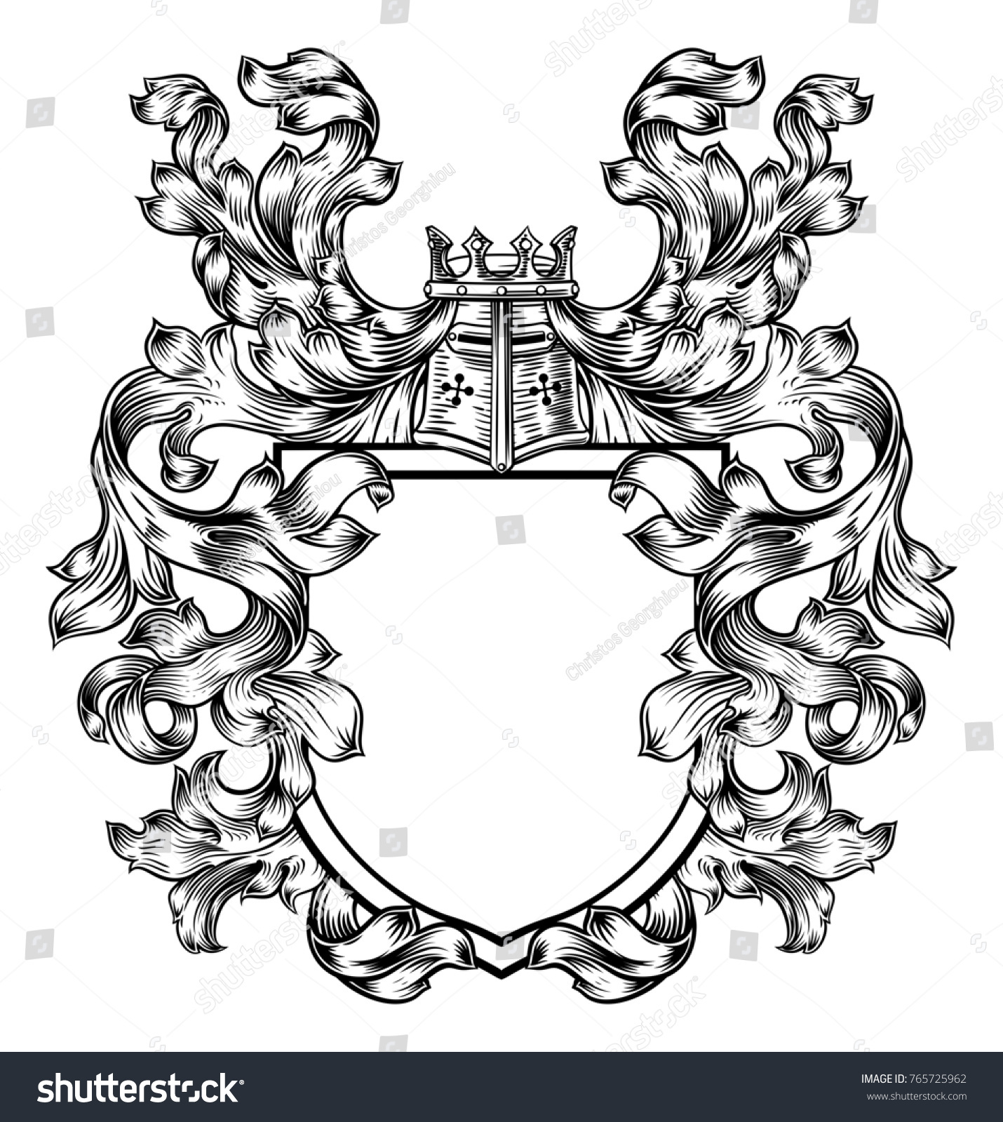 Coat arms medieval heraldic crest shield stock illustration a coat of arms medieval heraldic crest shield emblem featuring a knights great helm helmet and biocorpaavc Gallery