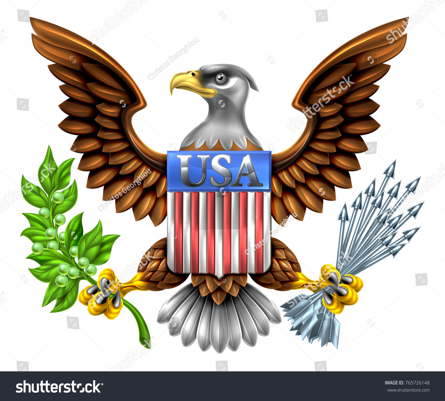 Silver Steel Metal American Eagle Design With Bald Eagle Like That