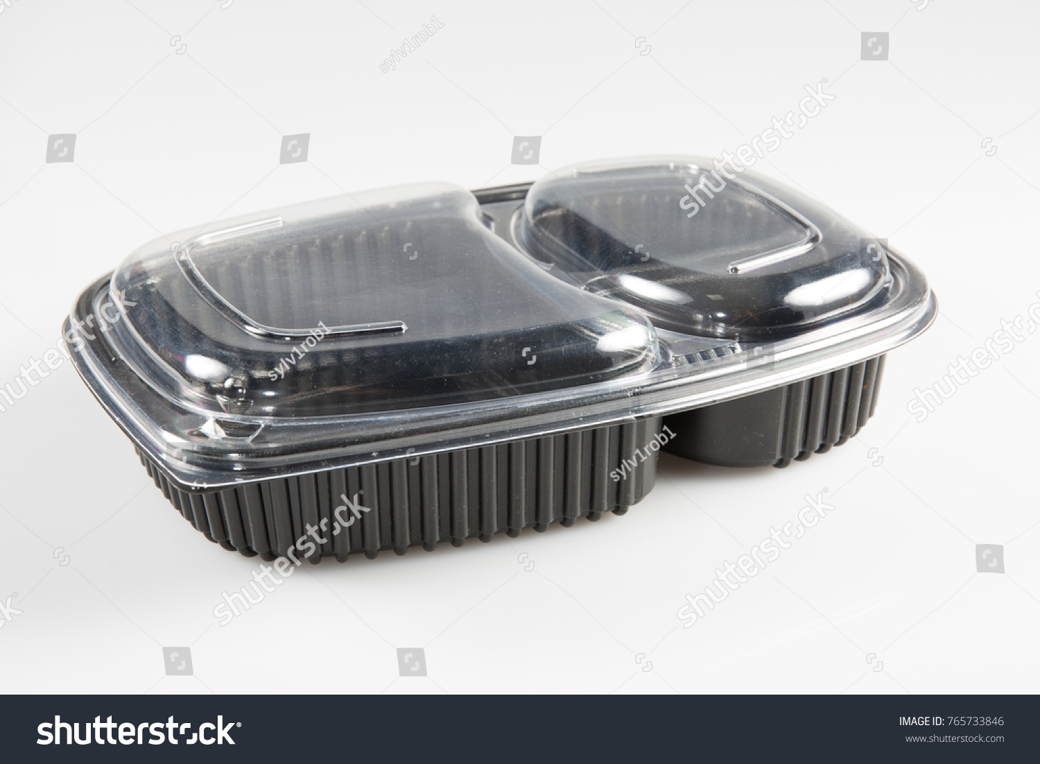 An empty box with a transparent lid to put takeaway food #765733846