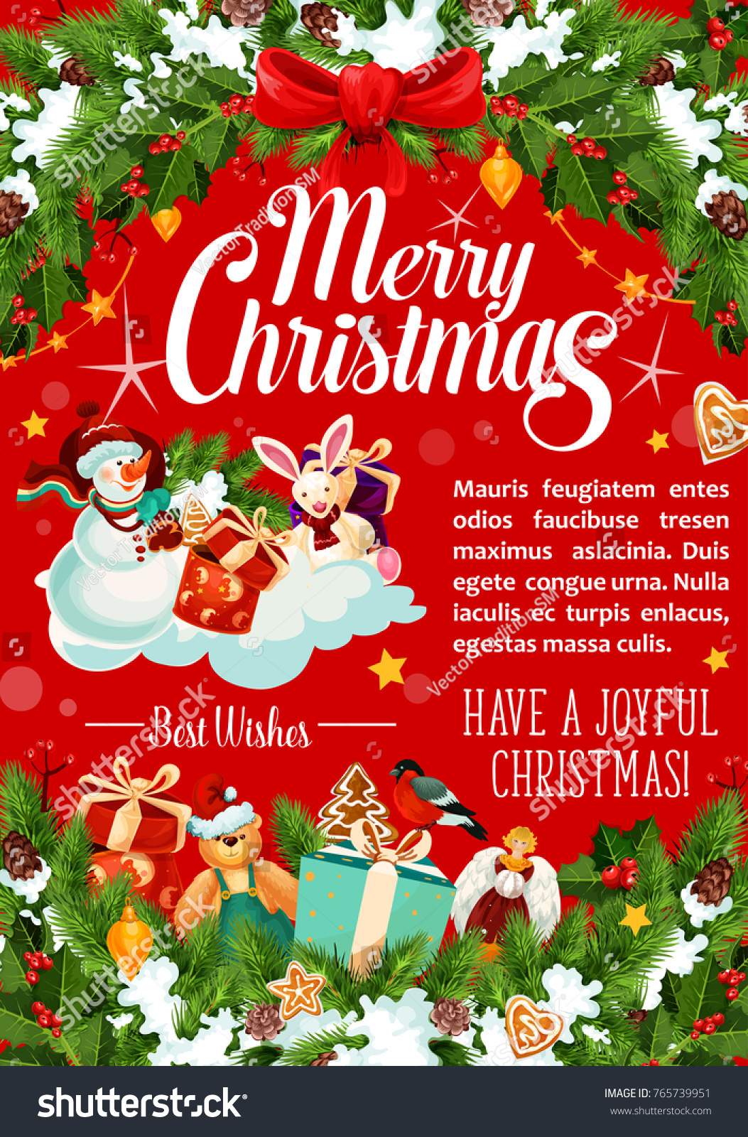 Merry Christmas Best Wishes Greeting Card Stock Vector (Royalty Free ...
