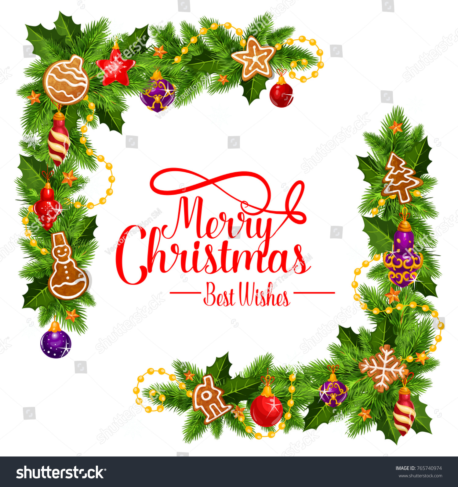 Merry Christmas Best Wishes Frame Pie Stock Vector (Royalty Free ...