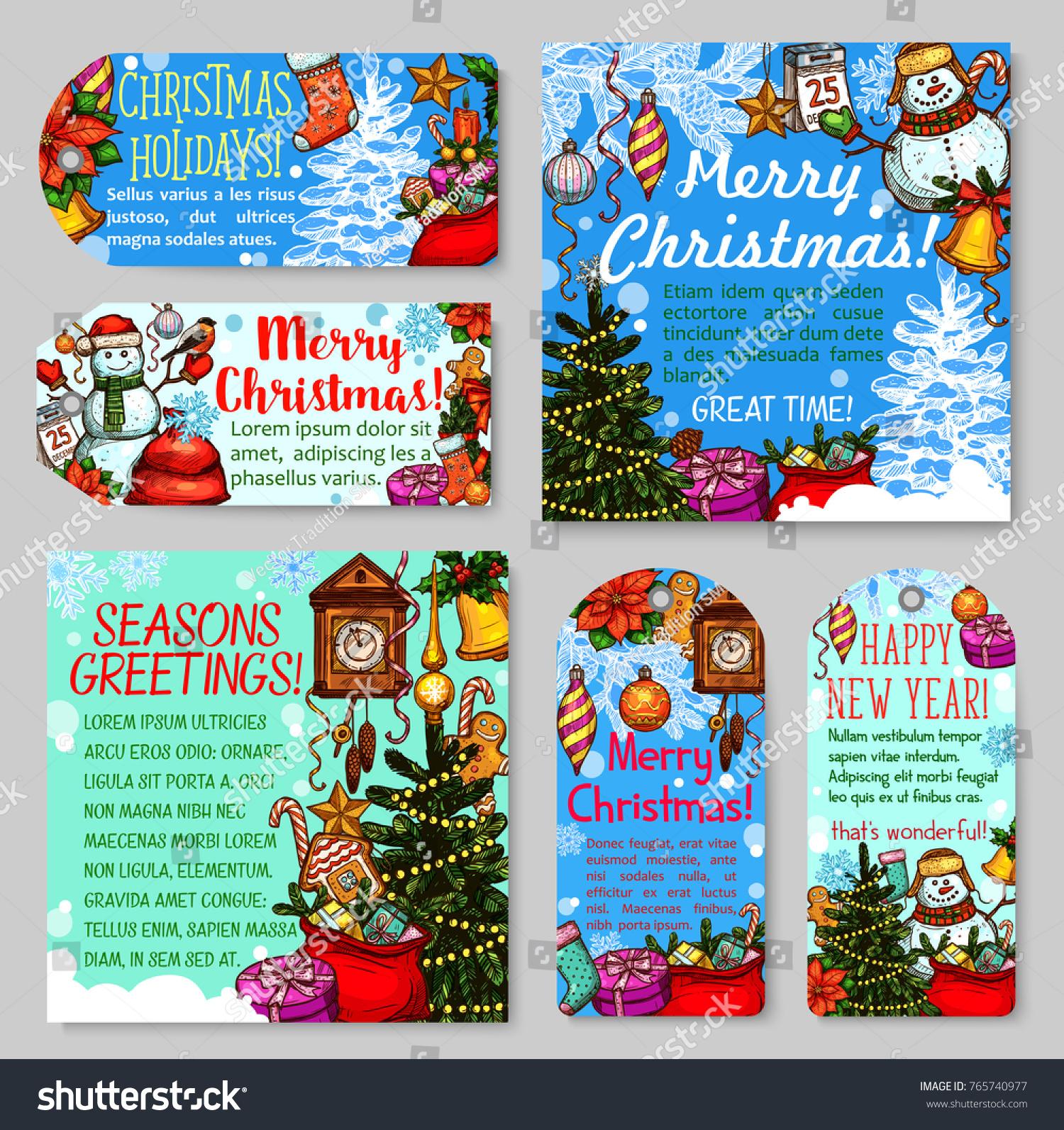 Christmas and New Year holiday gift tag and greeting card set. Xmas tree,  present
